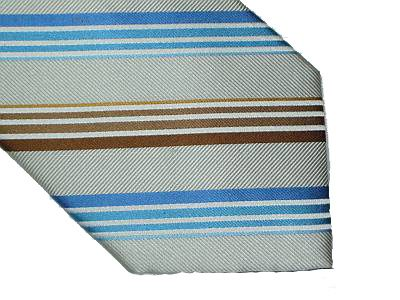 Claiborne Silk Tie - Diagonal Stripe Cream Brown Blue