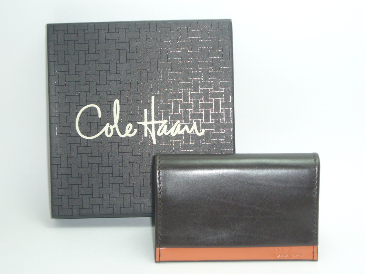 Cole Haan Leather Flap Card Case 2 Tone Collection...Brown Orang