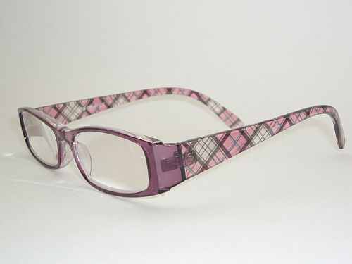 Reading Glasses 1.25 w/Case - Black Pink Plaid Readers