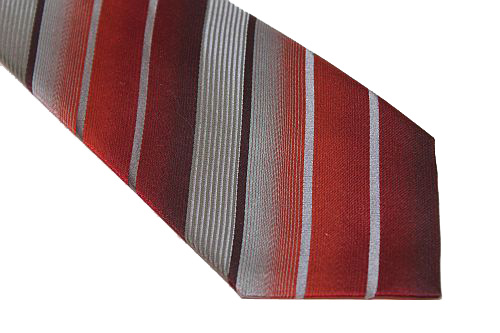 Kenneth Cole Reaction Tie - Red Gray Stripe