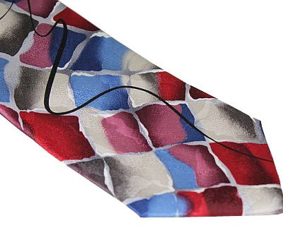 Jerry Garcia Tie - Birdland - Red Blue Gray