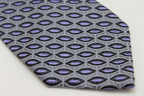 Lanae Joy Tie - Gray with Purple and Black Ovals