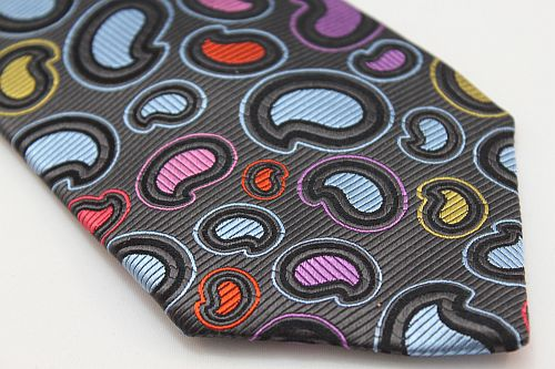 Lanae Joy Tie - Paisley in Gray Blue Pink Purple Red Yellow