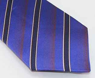Lanae Joy Tie - Diagonal Stripes Blue Navy Copper White