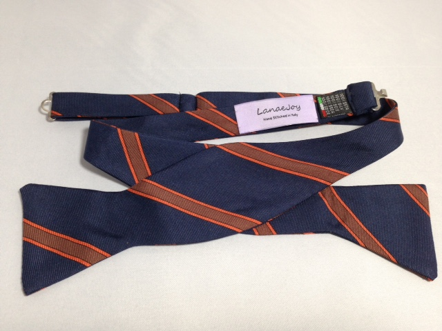 Lanae Joy Bow Tie - Navy Orange Stripe