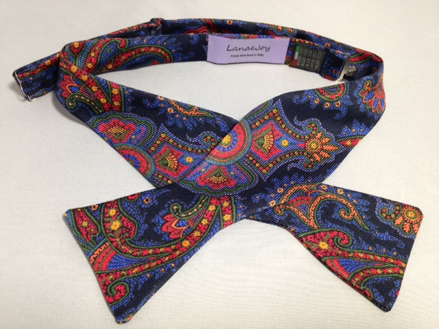 Lanae Joy Bow Tie - Blue Red Green Orange Paisley