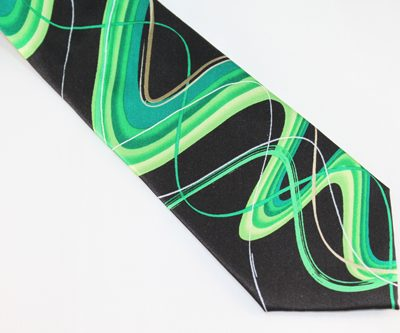 Jerry Garcia Tie - Happy Birthday - Black Green Gold
