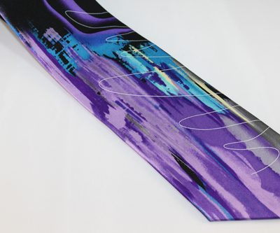 Jerry Garcia Tie - New York at Night - Purple, Aqua, Gray, White and Black
