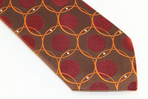 Lanae Joy Extra Long Ties Brown Maroon Orange Polka Dots Circles