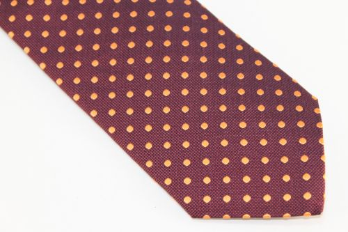 Lanae Joy Extra Long Tie Maroon Orange Polka Dots