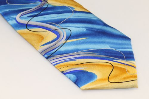 Jerry Garcia tie Blue Gold Silver - Drummers